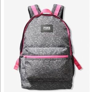 VS Pink CAMPUS BACKPACK Heather Grey w/ Pink NWT